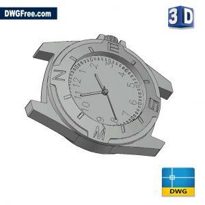 Clock 3D DWG drawing in AutoCAD Block