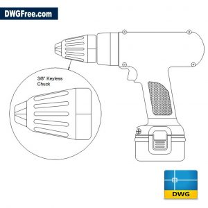Cordless Drill Elevation DWG drawing in AutoCAD