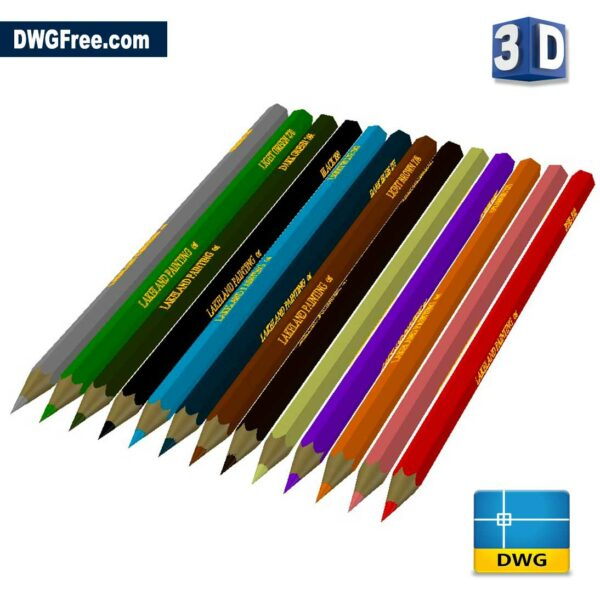 Crayon 3D DWG drawing in AutoCAD