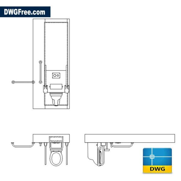 Disabled Toilet Arrangement DWG drawing CAD Blocks