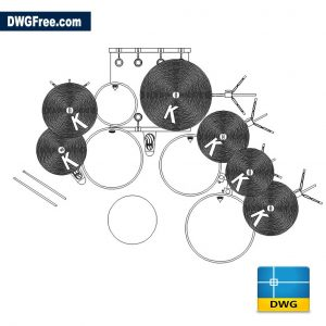Drum Kit Plan View DWG drawing in AutoCAD