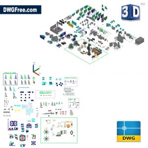 Office Furniture in 3D DWG CAD Blocks
