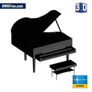 Piano 3D DWG drawing in AutoCAD