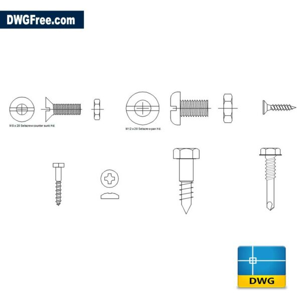 Screw CAD Blocks DWG drawing