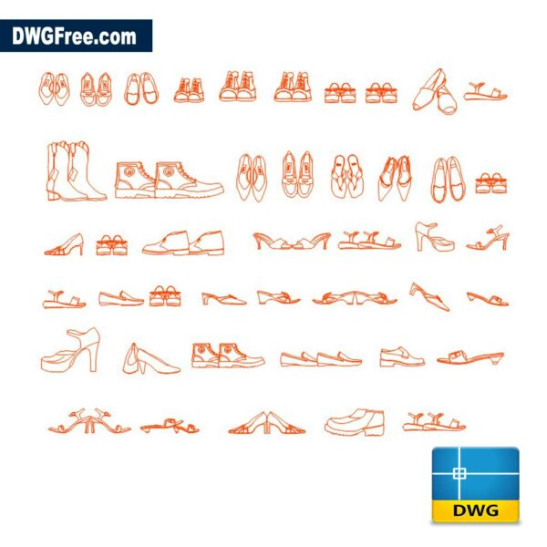 Shoes CAD DWG drawing in AutoCAD Blocks