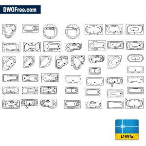 Standard Bathtub CAD DWG Blocks in AutoCAD