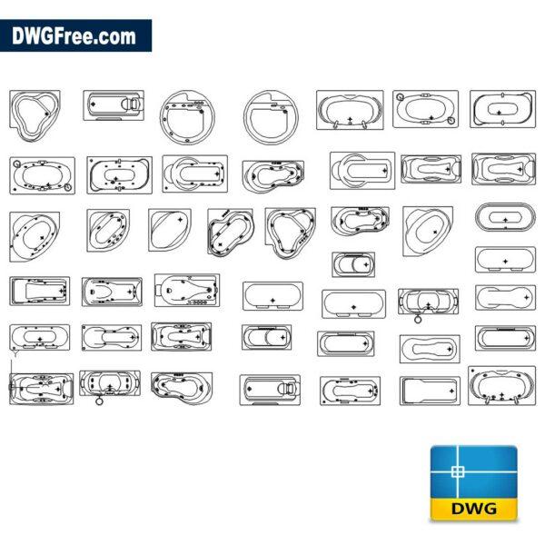 Standard Bathtub CAD DWG Blocks in AutoCAD