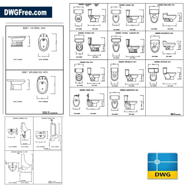 Toilets-bidets-and-sinks-dwg-drawing-CAD