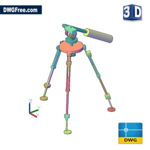 Tripod For Camera 3D DWG drawing in AutoCAD
