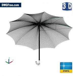 Umbrella 3D DWG drawing in AutoCAD