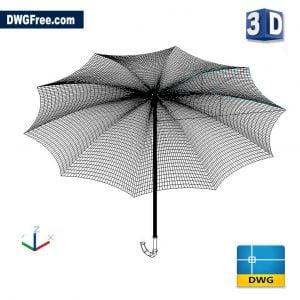 Umbrella 3D DWG drawing in AutoCAD