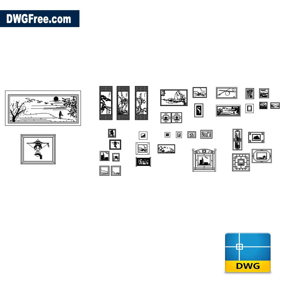 Wall Painting Collection DWG Free [ Drawing 2020 ]