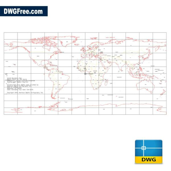 World Map 2D DWG drawing in AutoCAD