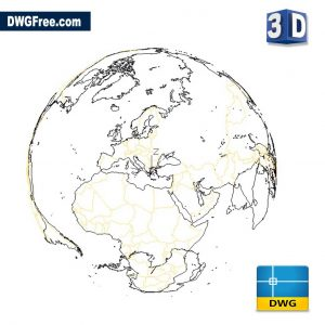 World Map 3D DWG drawing in AutoCAD