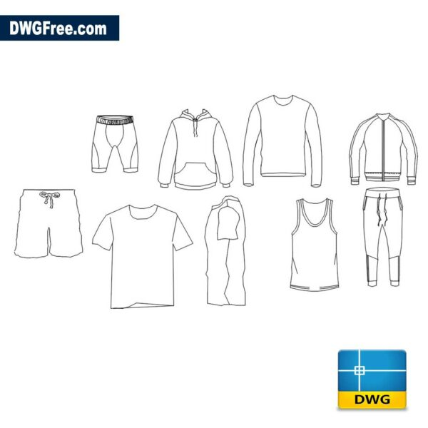Сlothes DWG drawing in AutoCAD blocks