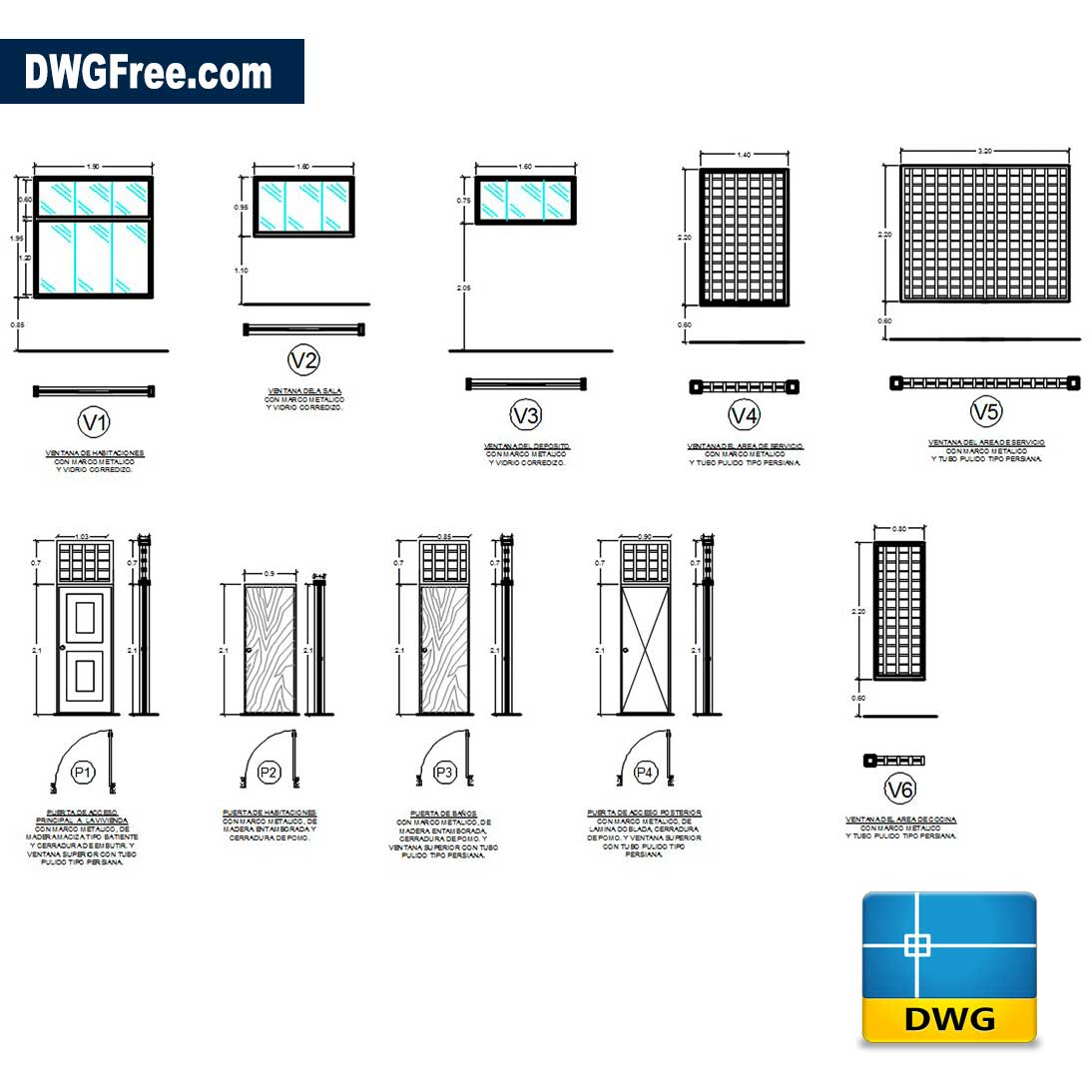 Doors And Windows Details DWG Free 2D [ Drawing 2020