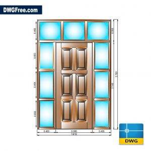 Entrance Doors With Glazed Surround DWG CAD Blocks