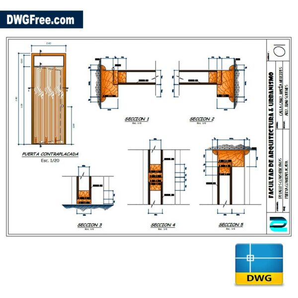 Plywood Door DWG CAD Block