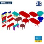 3D Table Collection dwg drawing cad