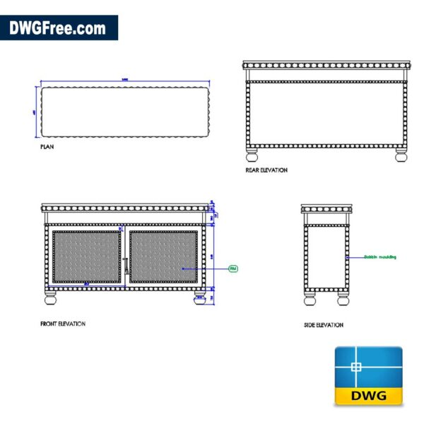 Antique TV Console DWG CAD Blocks
