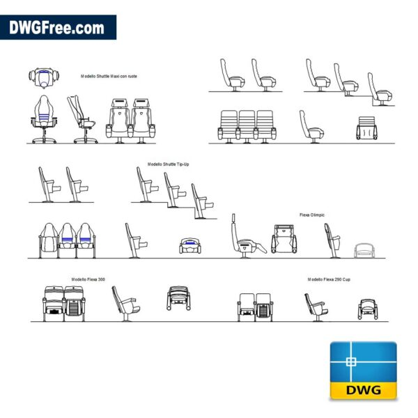 Auditorium Armchairs CAD Blocks Drawing