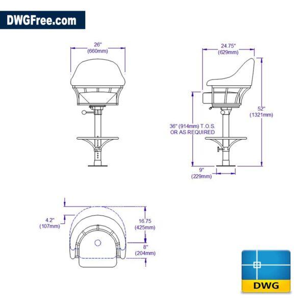Bar Seat Design dwg drawing cad