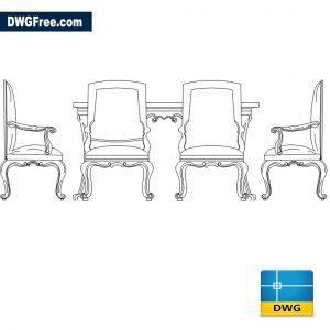 Drawing Dining Table Luxury DWG CAD Block