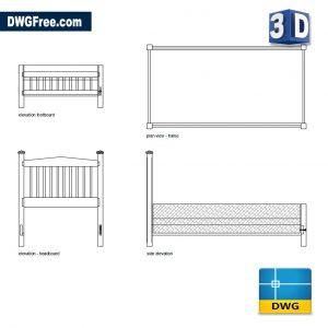 Drawing Double Bed Design 3D DWG Blocks free