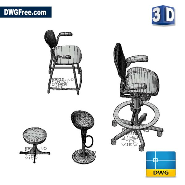 Pedestal Stool 3D DWG Drawing in CAD