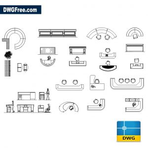 Reception Furnitures DWG Drawing