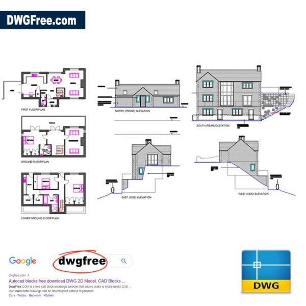 3-Storey property design CAD Blocks free files