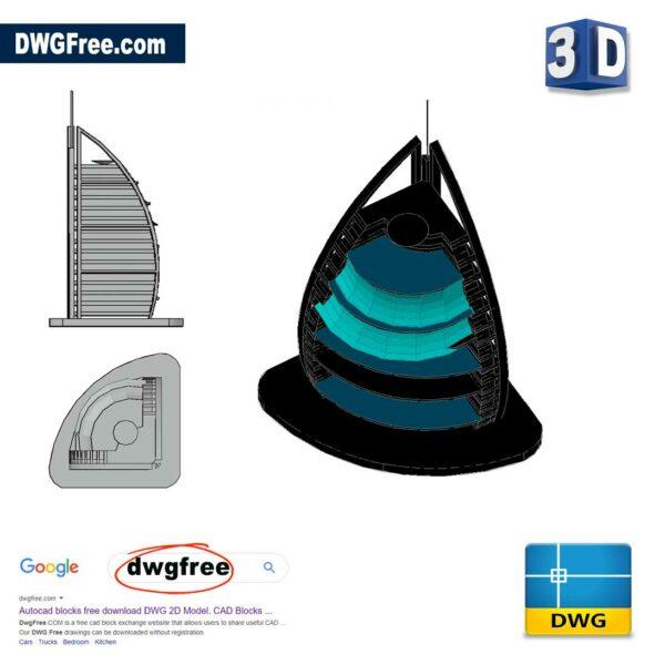 Burj-Al-Arab-3D-dwg-cad-blocks-in-AutoCAD