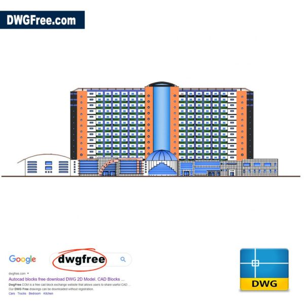 Architectural-Apartment-Block-Elevation-2D-drawing-free-CAD