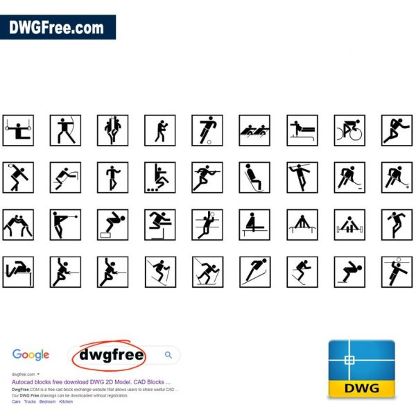 Pictogram-sport-Free-CAD-Drawing