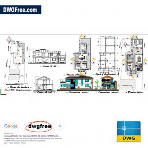Single Family House Project CAD file DWG format for Architect