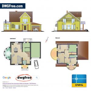 Small Family House DWG CAD in AutoCAD