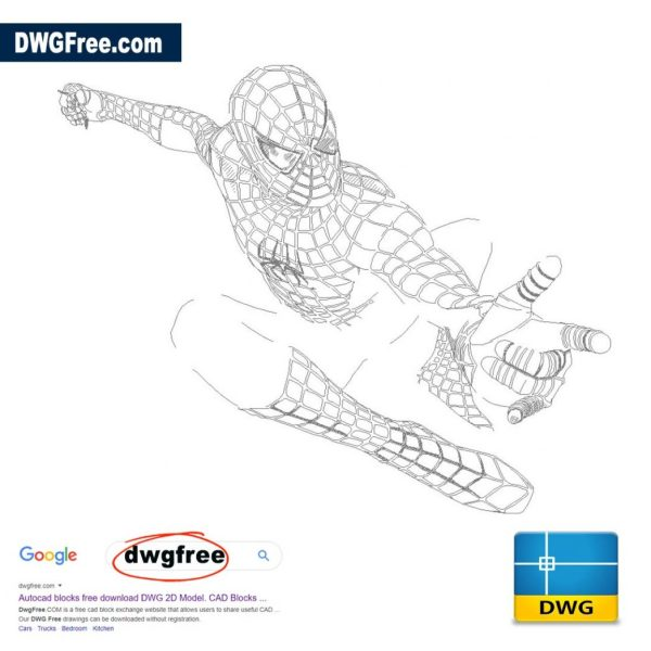 Drawing Spider Man DWG in AutoCAD