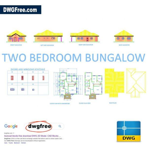 Two-bedroom-bungalow-free-autocad-blocks