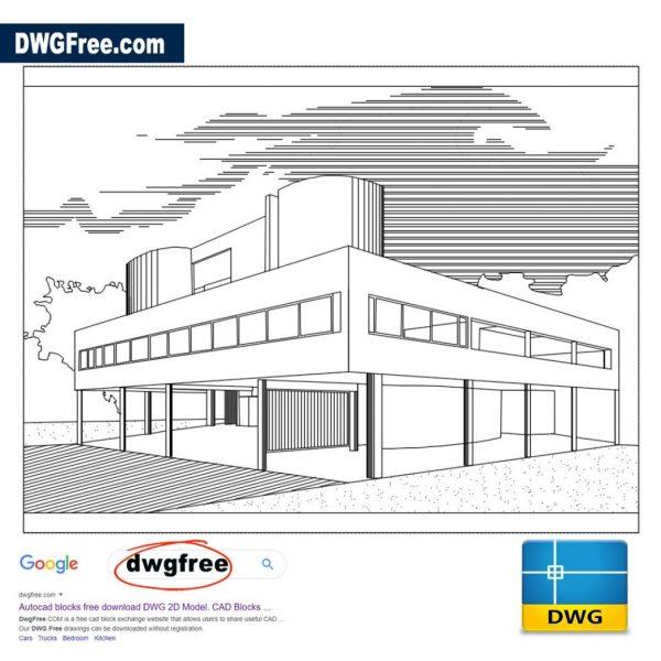 Villa 2D Savoy DWG file in AutoCAD