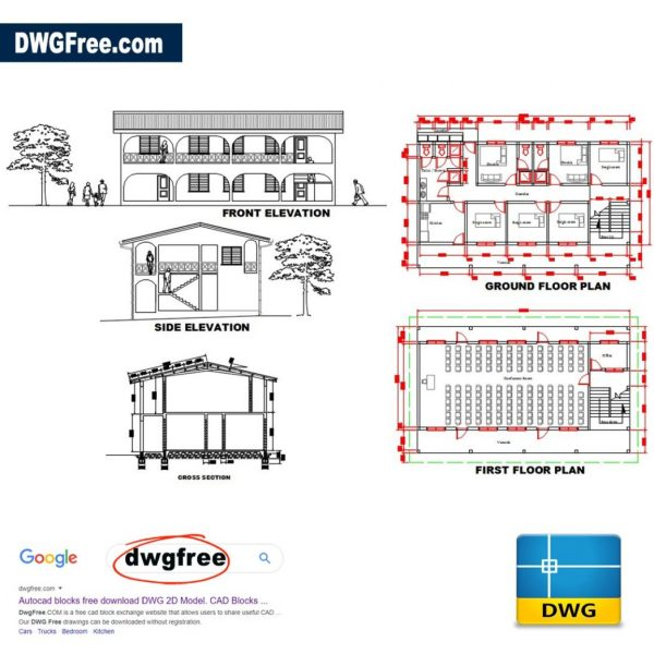 Womens'-hostel-AutoCAD-drawing-free-2D