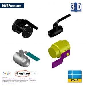 Pneumatic Ball Valve 3D Model DWG in AutoCAD