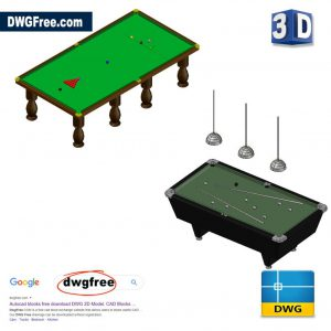 3D Billiard Table DWG in AutoCAD