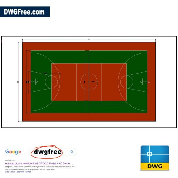 Basketball Court DWG in CAD 2D