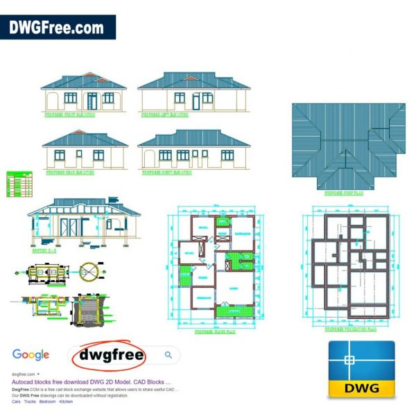 House Plan Three Bedroom DWG CAD files