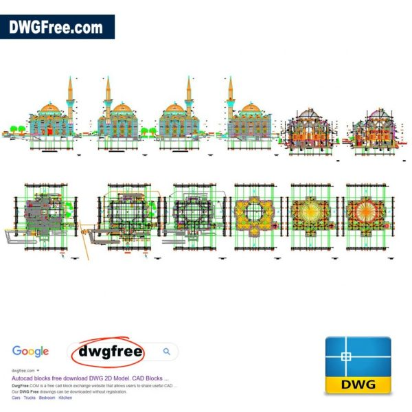 Mosque Architectural Detail DWG CAD Files