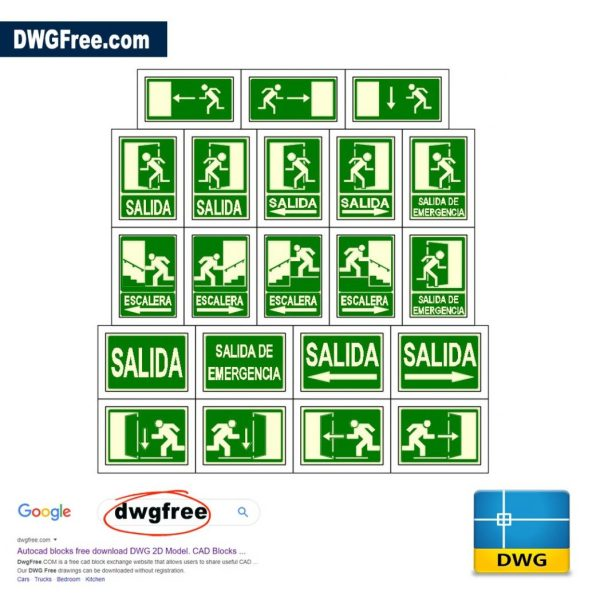 Signs-of-emergency-exits-CAD-Free-2D-blocks