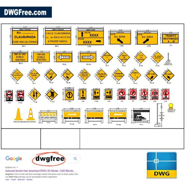 Signs-signaling-vehicular-diversion-CAD-drawing-DWG