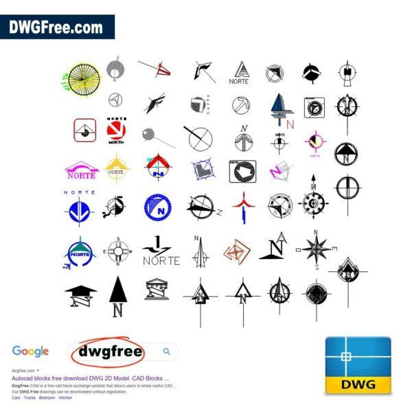 Symbols north DWG CAD Blocks
