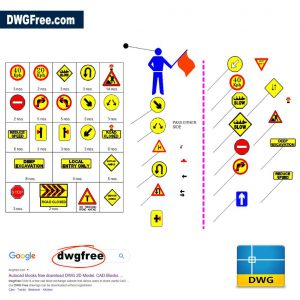 Traffic Diversion Detour Sign Board DWG in CAD Blocks
