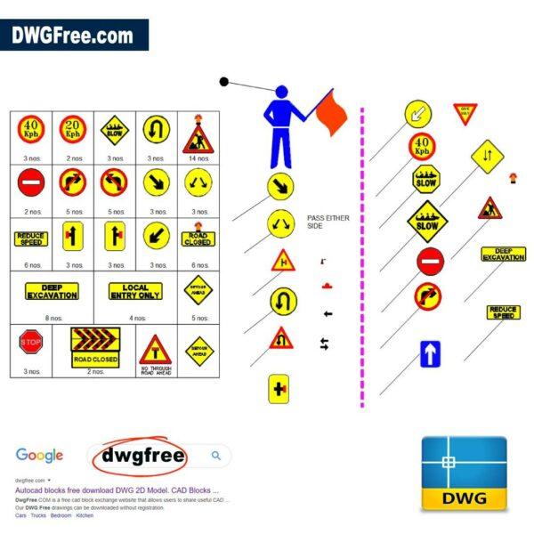 Traffic diversion detour sign board dwg CAD blocks